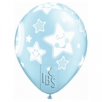 QU.11.Baby Moon & Stars.prl light blue - 25pcs - 24941
