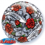 Single bubble.I Love you Red Rose Filigree - 55cm - 27405