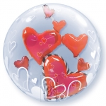 Double bubble.Lovely Floating Hearts - 60cm - 68808