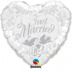 Just Married Prl White & Silver - 90cm - 82425