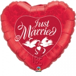 Just Married Red & White - 90cm - 32344