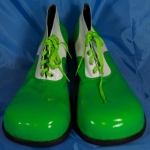 Clown shoes w/ flat tip.green+white.shining - 54143321203