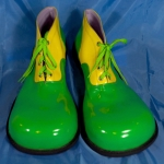 Clown shoes w/ flat tip.green+yellow.shining - 54143321203