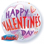 Single bubble.Valentines Red & Pink Hearts - 55cm - 34652