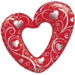 Hearts & Filigree Red -  105cm - 16441