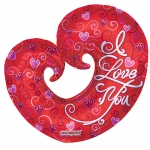I Love You Curled Heart - 90cm - 17851-36