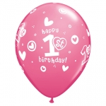 QU.11.1st Bday Circle Hearts Girl - 25pcs - QU-41185