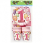 Party Pak.1st Birthday Balloons Pink - 8pers - UN23887