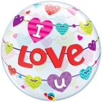 Single bubble.I Love U Banner Hearts - 55cm - 46047