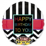Singing balloon.Chevron Happy Bday to You - 75cm - 30005