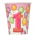 Cups.first birthday.pink - 35cl - UN23886