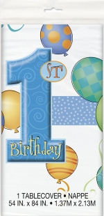 Tablecover.plastic.first birthday.blue - UN23943