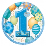 Plates.first birthday.blue - 18cm - UN23944