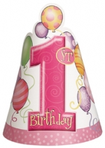 Party Hats.First Birthday.pink - 8pcs - UN23891