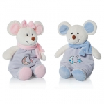 Baby.Mouse Boy & Girl + rattle - 28cm - 2pcs - ART2025/A