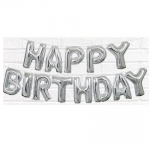 Happy Birthday Balloon Banner Silver - 53680