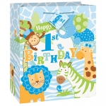 Gift Bag.Safari 1th Birthday.Blue - 22,8cm x 17,8cm - UN42612