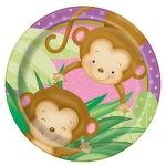 Plates.Girl Monkey Baby Shower - 18cm - UN49714