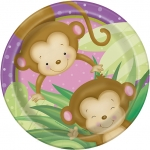 Plates.Girl Monkey Baby Shower - 23cm - UN49715