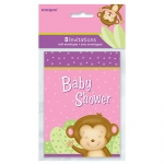 Invitation.Party.Baby Shower.Girl Monkey - UN49724
