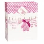 Giftbag.Baby Bow Clothesline.Pink.Large - UN64449