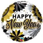 Happy New Year Gold & Black Fans - 45cm - 89858