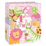 Gift Bag.Medium.Safari 1st Bday.pink - 23cm x 18cm - UN42562