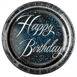Plates.Blue.Glitz.Happy Birthday - 23cm - UN57465