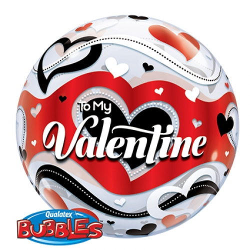 Single bubble.Be my Valentine Banner Hearts - 55cm