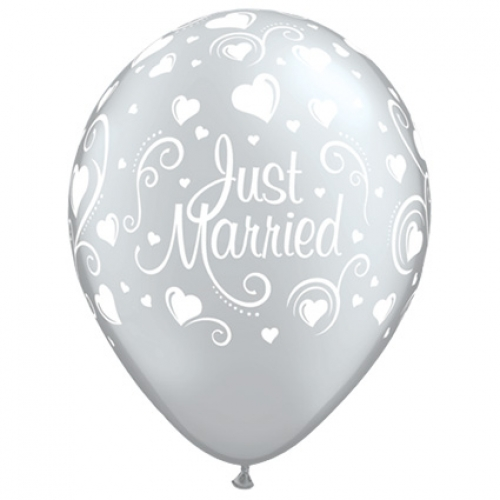 QU.11.Just Married Hearts.silver - 25pcs