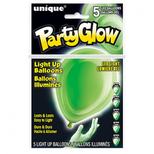 Light Up Balloons.lime green - 5pcs