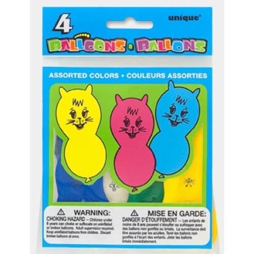 Animal balloons ast - 4pcs