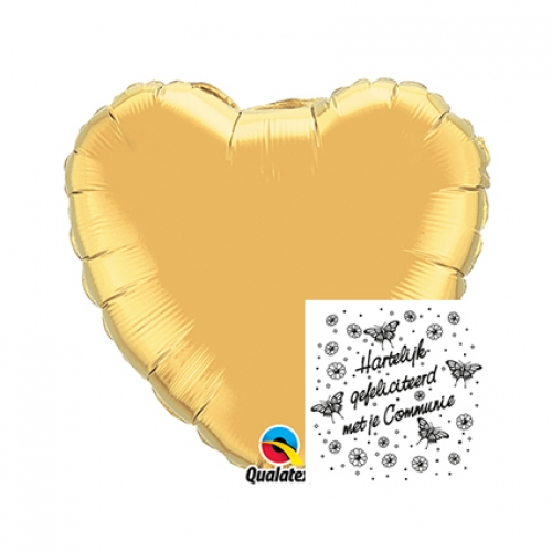 Communie.Heart.Vlinders.Metallic Gold - 45cm