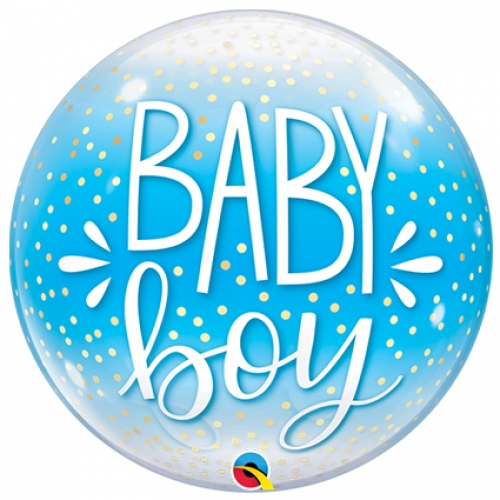 Single bubble.Baby Boy Blue Confetti & Dots